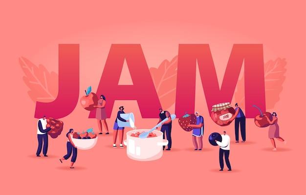 ジャムのコンセプトを調理する人々。漫画フラットイラスト