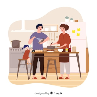 People cooking at the kitchen
