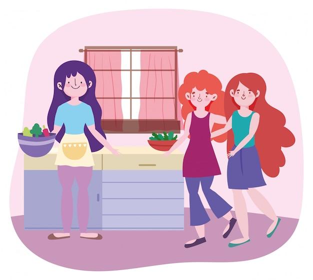Люди готовят, девочки с едой в мисках дизайн кухни