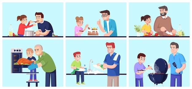함께 요리하는 사람들, 아버지와 아이들이 음식 플랫 벡터 삽화 세트를 준비합니다. 웃는 아빠와 아이들, 부엌 물건을 가진 가족, 만화 캐릭터 키트