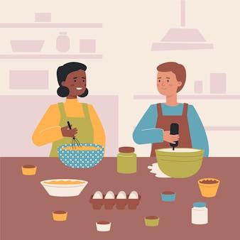부엌에서 함께 요리하는 사람들