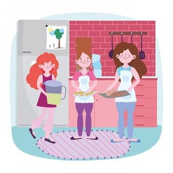 Люди готовят, женщина и девушки с выпечкой сок банку и хлеб на кухне