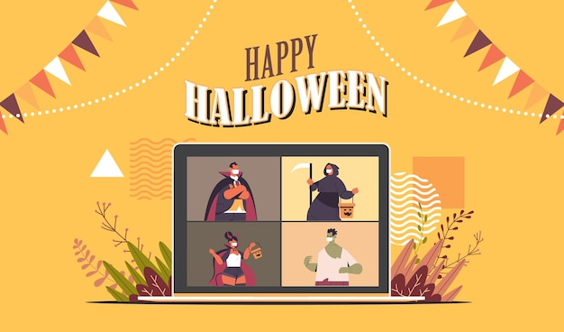 People in costumes on laptop screen discussing during video call happy halloween party online communication self isolation concept horizontal portrait vector illustration