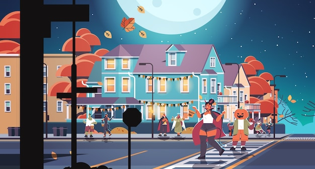 People in costumes walking in town trick or treat happy halloween celebration concept greeting card horizontal full length vector illustration
