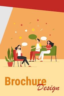 Люди, консультирующие с психологом, изолировали плоскую векторную иллюстрацию. мультфильм врач разговаривает с пациентами на сеансе психотерапевта. концепция групповой терапии и наркомании