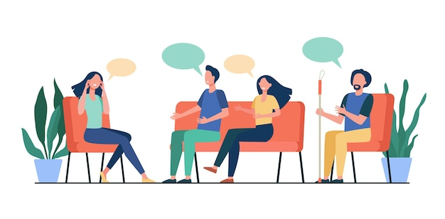 People counseling with psychologist isolated flat vector illustration. cartoon medical doctor talking with patients at psychotherapist session. group therapy and addiction concept