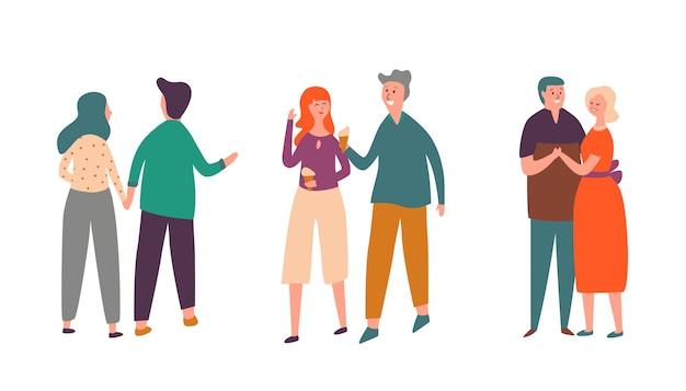 人々のカップルのキャラクターの日付セット。家族の恋人のペアは一緒に歩き、アイスクリームを食べて話します。女性のロマンチックなバレンタインコレクションと大人の男性のダンス。幸せな関係フラット漫画ベクトルイラスト