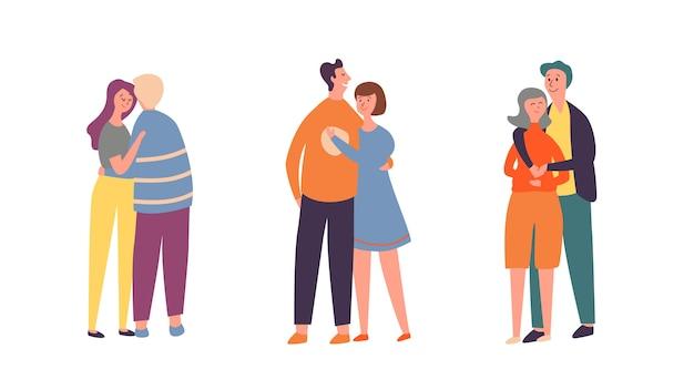 人々のカップルのキャラクターの抱擁セット。家族の恋人のペアグループが一緒に話します。ロマンチックなバレンタインデーでガールフレンドと一緒に歩く大人のボーイフレンド。幸せな関係フラット漫画ベクトルイラスト