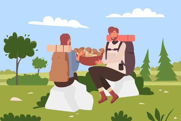 人々はバックパックと一緒にキノコのハイカーのバケツを持ってハイキングを楽しんでいます