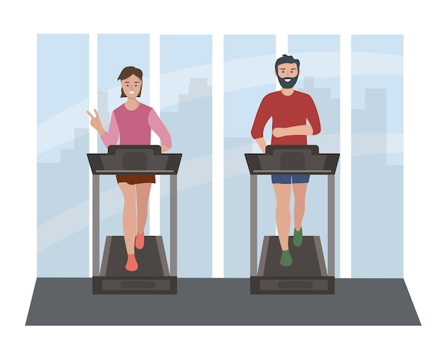 People a couple of man and woman on a treadmill