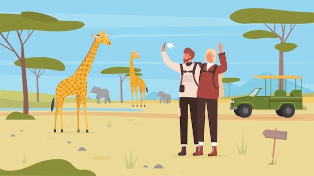 Люди пара туристы сафари тур отпуск в африке человек, делающий телефон селфи фото