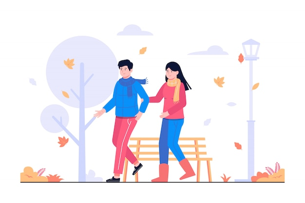 People couple walking together in autumn concept illustration