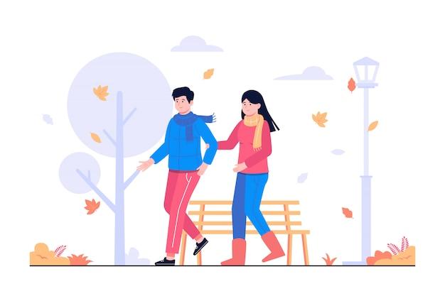 가을 컨셉 일러스트에서 함께 걷는 사람들 커플