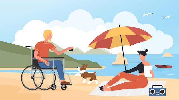 여름 해변 휴가에 애완 동물을 가진 사람들은 휠체어 훈련 개에 남자를 비활성화