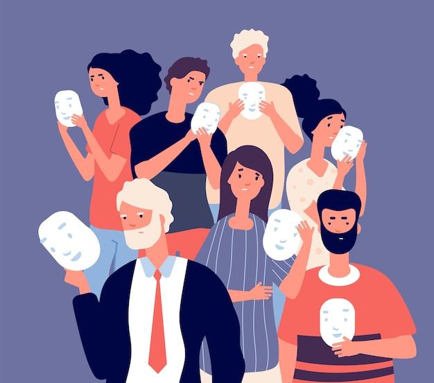 顔をマスクで覆っている人。人々のグループは、ポジティブマスク、偽の個性ベクトルの概念の背後にネガティブな顔の感情を隠します。イラスト偽善匿名、誠実さと幻想を隠す