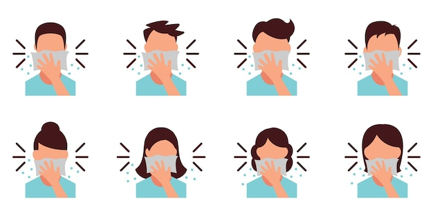 People covering mouth with tissue while sneezing