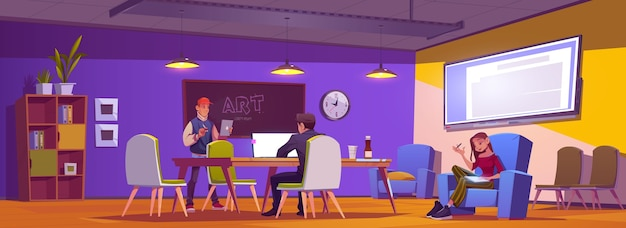 People in coworking area think business idea