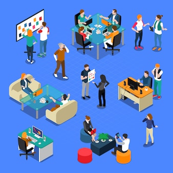 People coworking isometric set