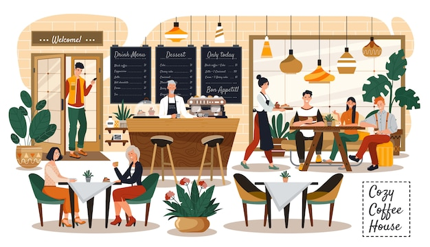 People in cozy cafe, coffee shop interior, customers and waitress, vector illustration