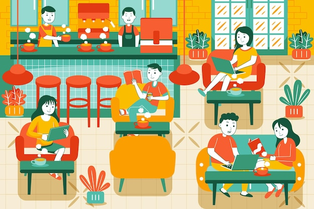 People in cozy cafe in flat style