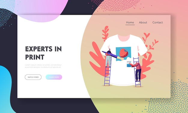 People create handmade apparel design landing page template.