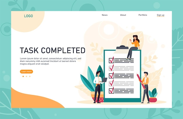 People creating and checking plan on huge check list application landing page template. man points in the direction marked by a checklist on whiteboard paper. flat vector illustration.