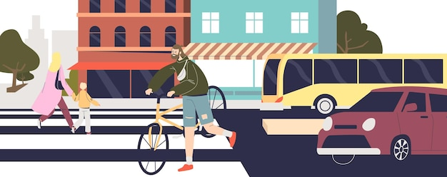 Люди переходят улицу по пешеходному переходу. городская улица с автомобилями и пешеходами, идущими по зебре на другую сторону дороги. концепция безопасности пересечения дороги. плоские векторные иллюстрации шаржа