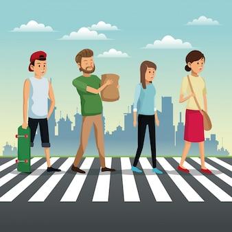 Люди, пересекающие уличный городской фон