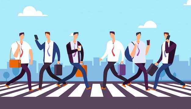 People on crosswalk businessmen walking city street business concept