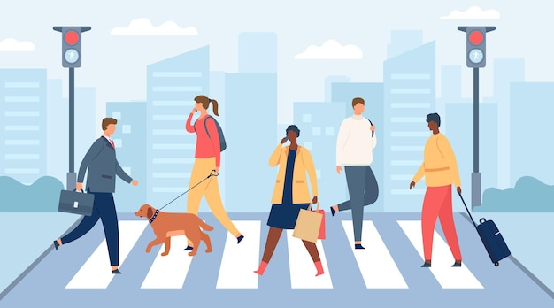 People on crosswalk. men and women crossing city road with traffic lights. businessman and girl with dog. flat crowd on street vector scene. illustration crosswalk pedestrian, road cross