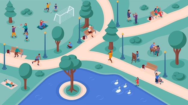People crowd in park weekend lifestyle activity aerial view. young adult man and woman recreation, family, children and friends community do sport and relax outside on nature vector illustration