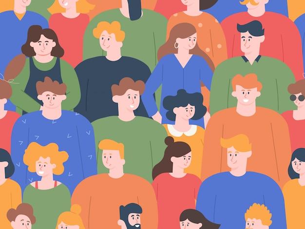 人の群集のパターン。グループの人々の肖像画、公開会議または社交デモでの若い男女。かわいい笑顔の友達キャラクターのシームレスなイラスト