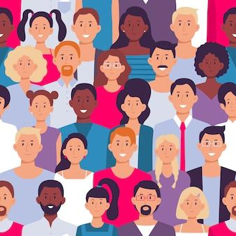 사람들이 군중 패턴. 젊은 다민족적인 남자와 여자, 사람들 그룹 원활한 그림