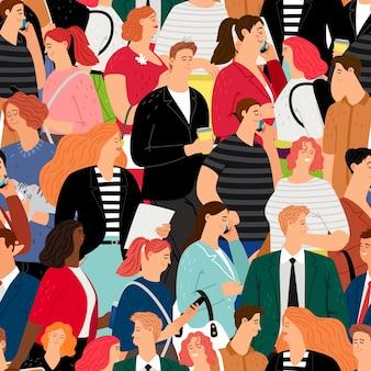 人々はシームレスなパターンで群がります。ビジネスの男性と女性、ティーンエイジャーのキャラクター