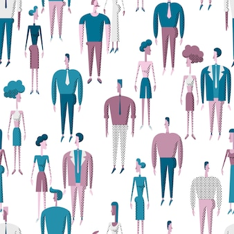 People crowd seamless pattern with men and women various characters.
