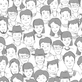 People crowd with many faces