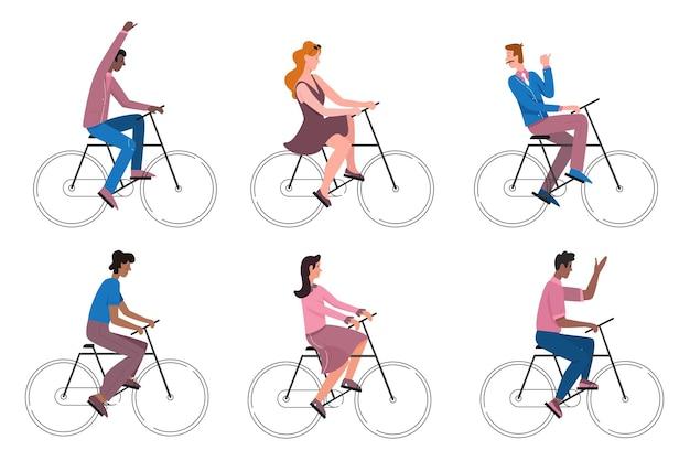 自転車に乗って屋外の健康的なスポーツ活動の若いアクティブなサイクリストをサイクリングする人々
