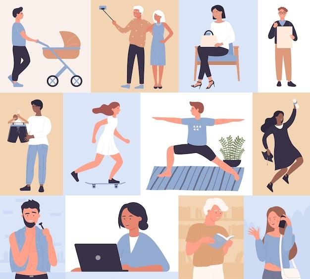 사람들의 일상 활동 세트 활동적인 일상 생활 일상 장면 남성 여성 캐릭터