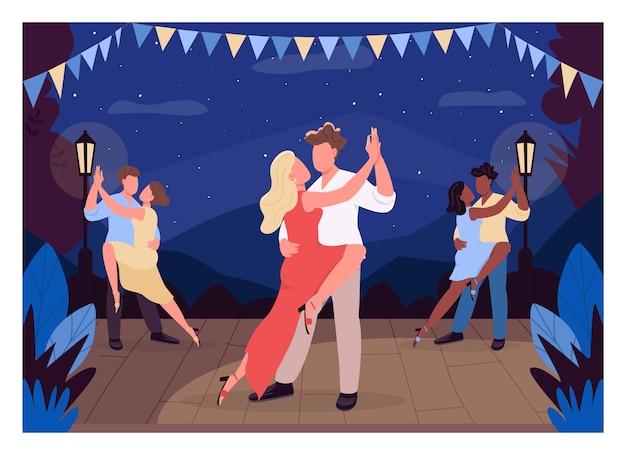 Люди танцуют на сцене плоские цветные рисунки