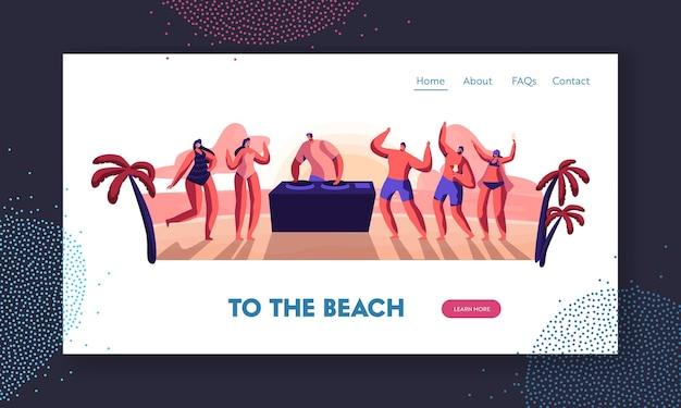 해질녘 dj가 음악을 연주하는 여름 시간 해변 파티에서 해변에서 칵테일을 춤추고 마시는 사람들. 웹 사이트 방문 페이지 템플릿