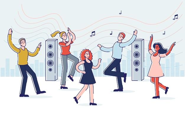 춤과 음악을 즐기는 사람들 축하 파티에 젊은 만화 캐릭터의 그룹