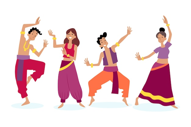 La gente che balla il tema di bollywood