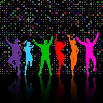 ダンスパーティーの人々のカラフルなシルエット