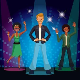 People dancing at disco 80s cartoon