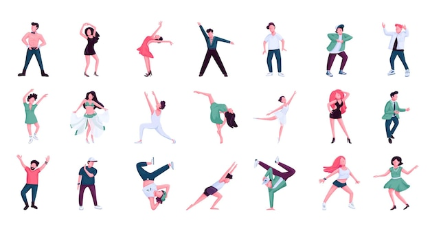 사람들이 춤을 플랫 컬러 벡터 익명 문자 세트. 발레, 힙합 남성 및 여성 댄서. 흰색 배경에 역사와 현대 무용 스타일 격리 된 만화 일러스트