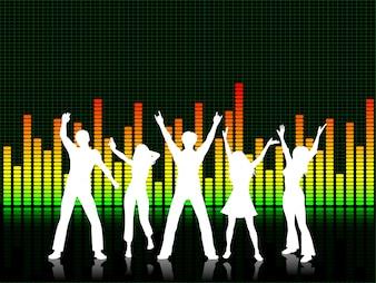人々はグラフィックイコライザーの背景で踊っている