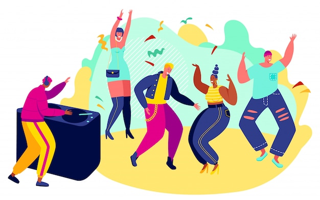 People dancing at party, men and women in club, vector illustration