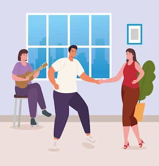 People dancing and playing guitar at home design of activity and leisure