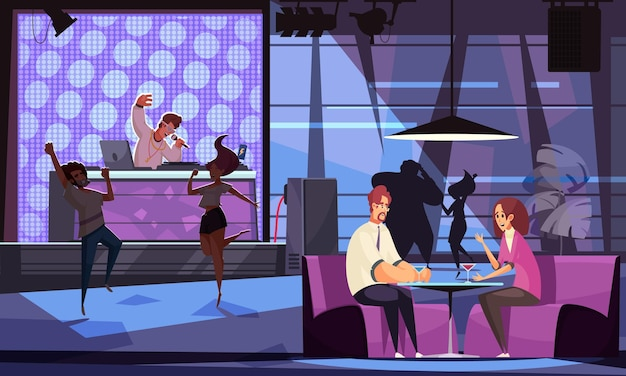 People dancing and relaxing in bar with dj and live music cartoon illustration