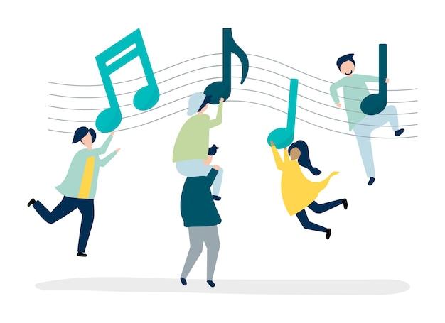 음악에 맞춰 춤추는 사람들